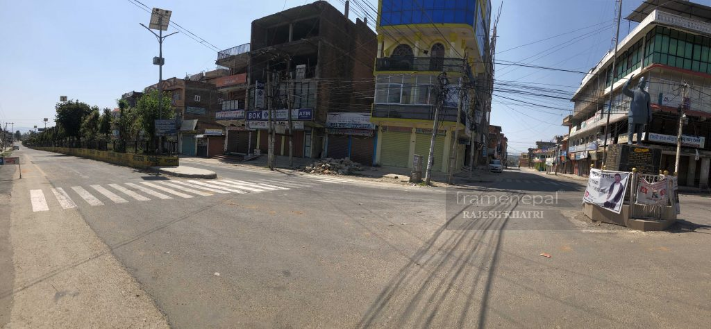 Nepal Lockdown, Tulsipur Bazar Lockdown,Dang District. Nepal government has prohibited everyone from coming out of their houses from 11-25 Chaitra, with people involved in essential services being the exception.
