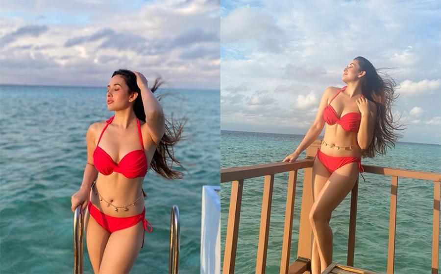 Aditi Budhathoki red bikini sea